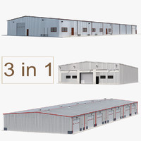 warehouse buildings 3d c4d