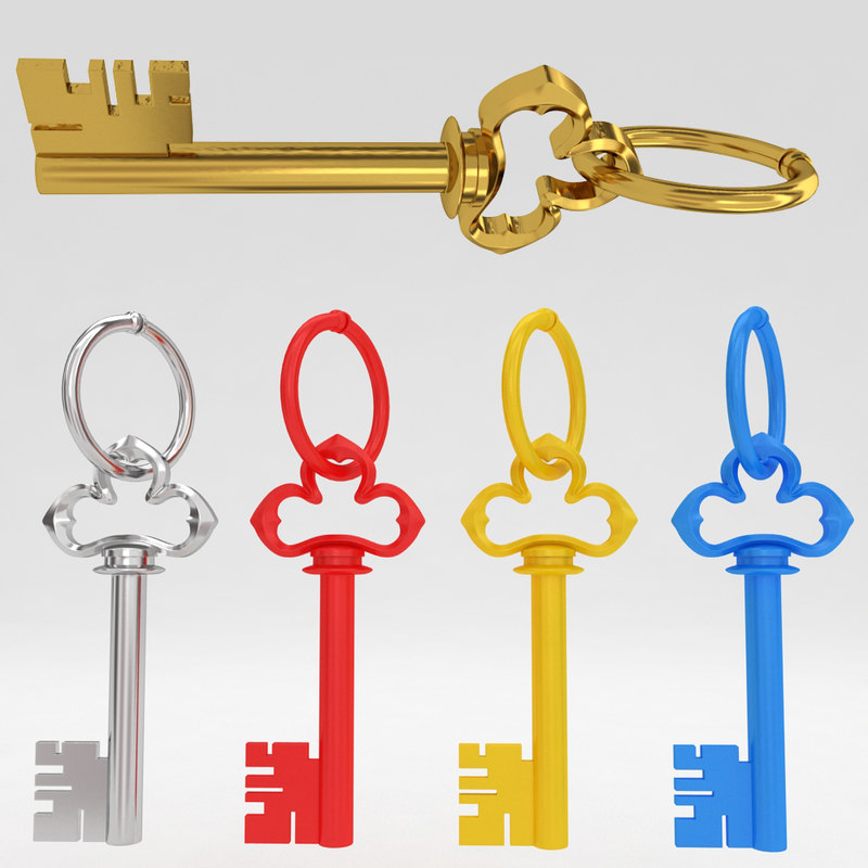 ancient old luxury key 3d model