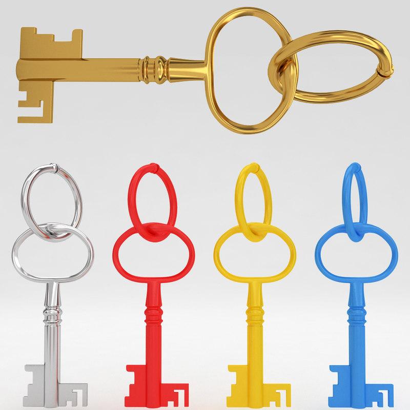 ancient old luxury key obj