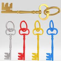 3d ancient old luxury key model