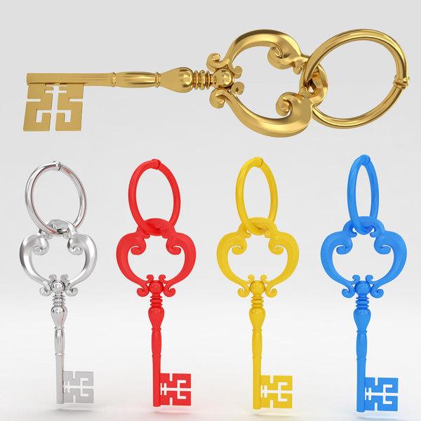 ancient old luxury key 3d obj