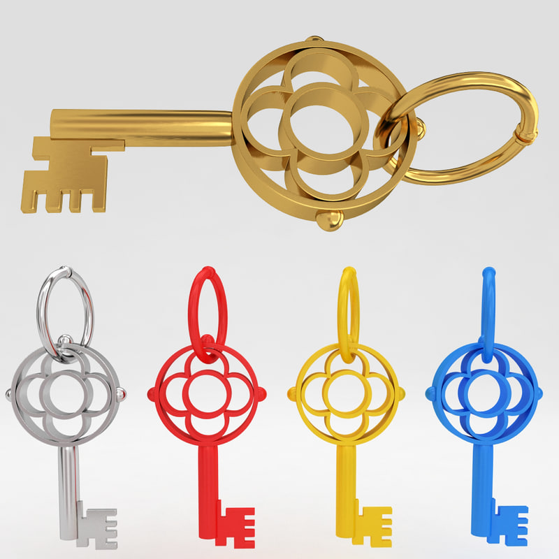 ancient old luxury key 3d model