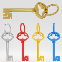 3d model ancient old luxury key