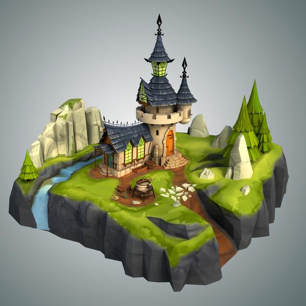 3d model stylized castle environment