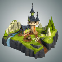 3d model stylized castle environment