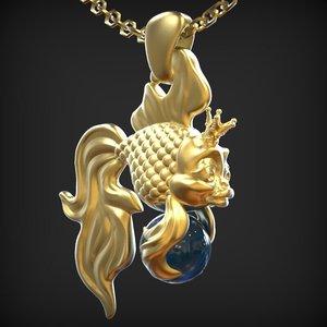 3dm goldfish pendant fish