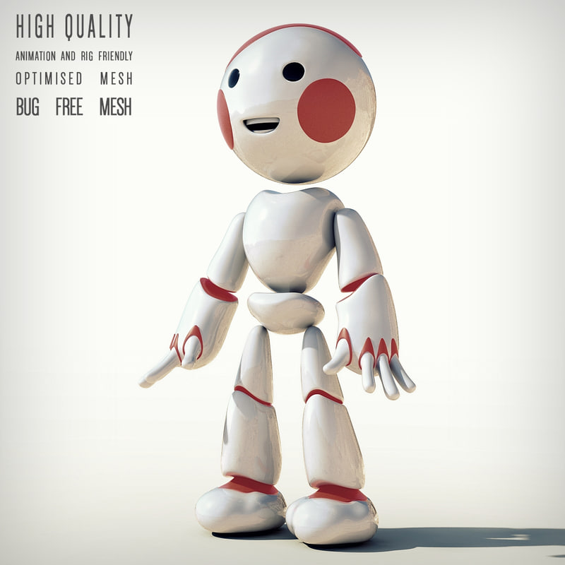 cartoon robot character 3d max
