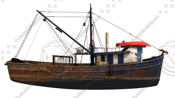 3d old fishing boat