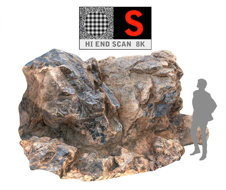 gigantic volcanic stone 8k obj