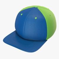 blue green baseball cap 3d model