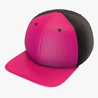 3d pink black baseball cap model