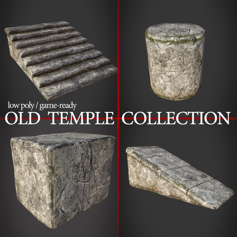 3d model old temple assets