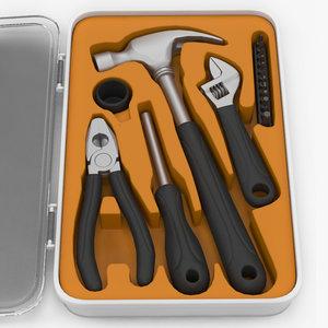 3d toolbox hammer screwdriver