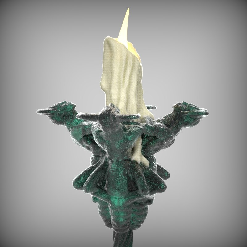 gothic candle holder 3d model