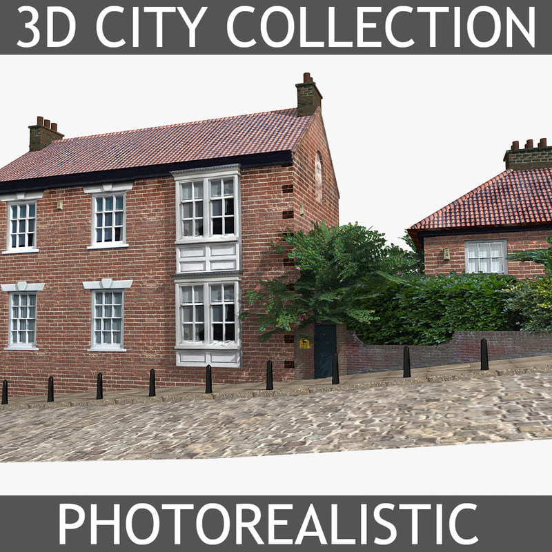 photorealistic brick house 3d model