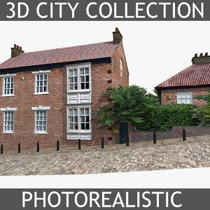 photorealistic brick house 3d model