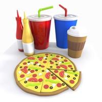 Cartoon Pizza Meal