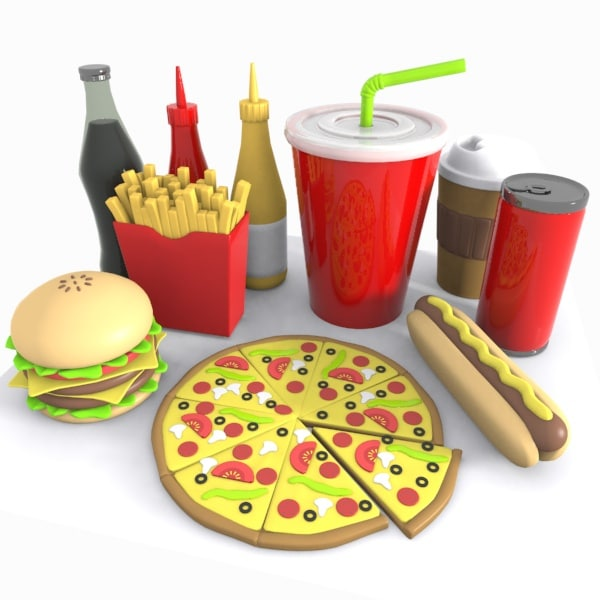 3d model of cartoon junk food for 3d cuisine bessines 79