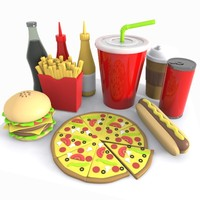 Cartoon Junk Food Meal