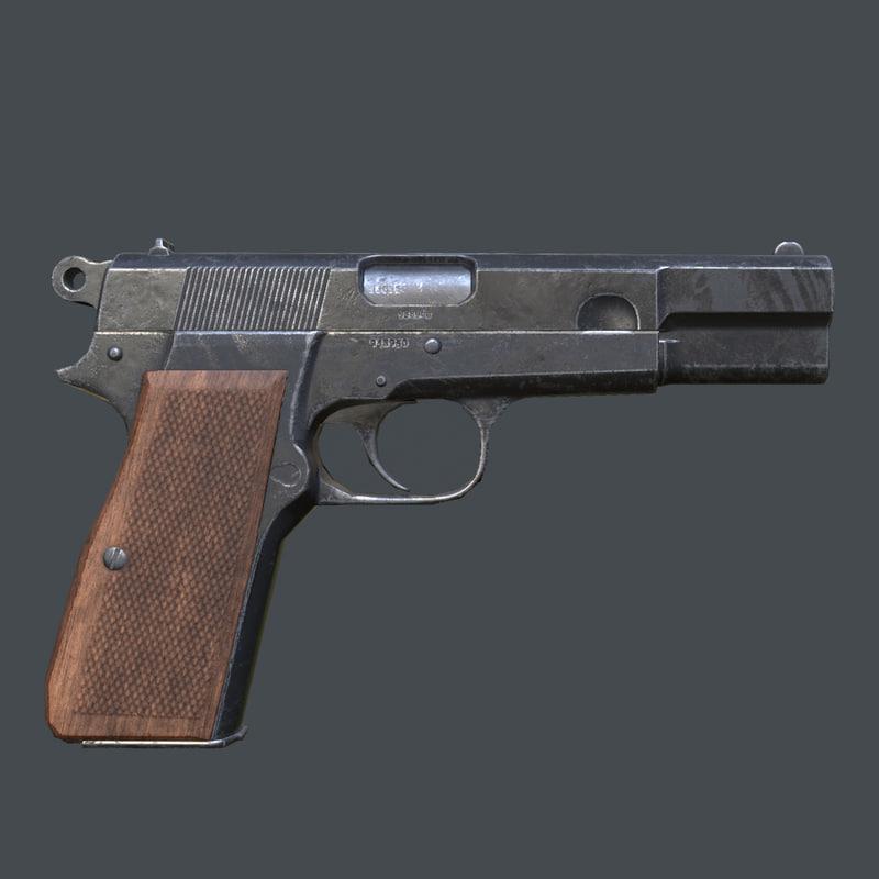 3d browning hi-power pistol model