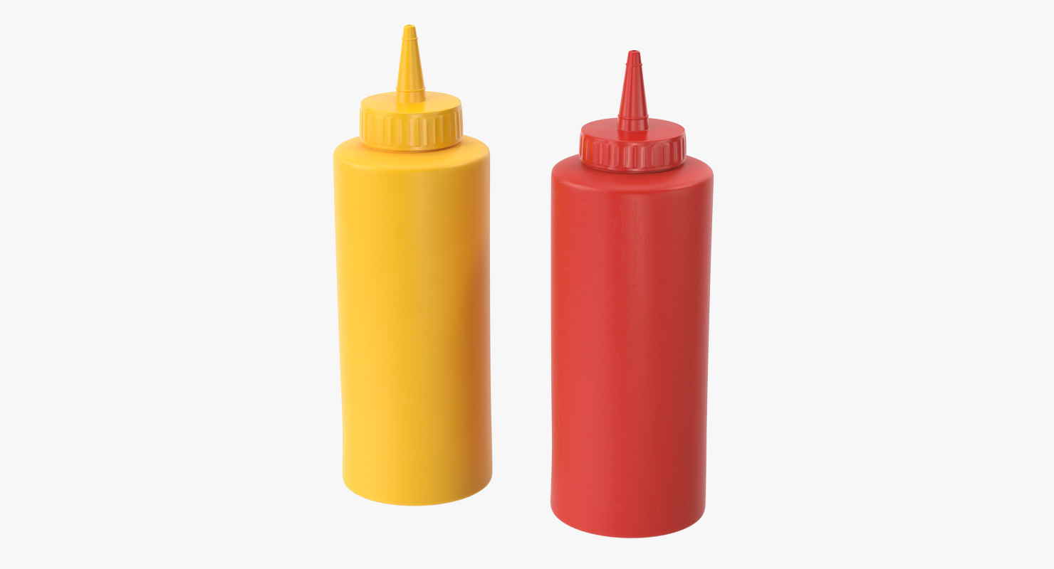 3d mastard ketchup model