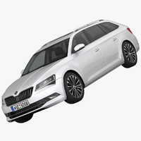 3d model skoda superb kombi car
