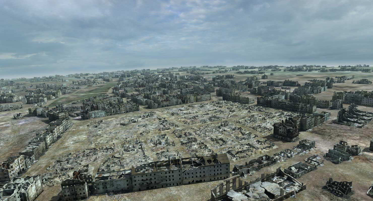 3d ruined city ww2 warsaw model for Cities destroyed in ww2
