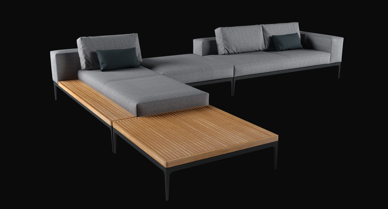 3d coffee table grid sofa model