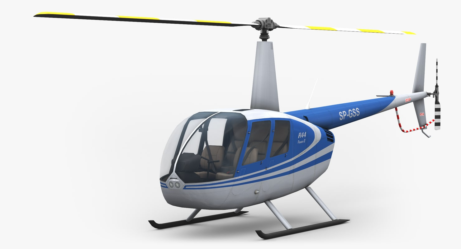 low-poly robinson r44 helicopter 3d model