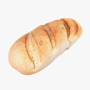 white loaf bread 3d model
