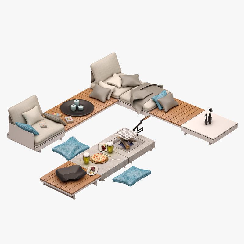 3d model pure sofa set