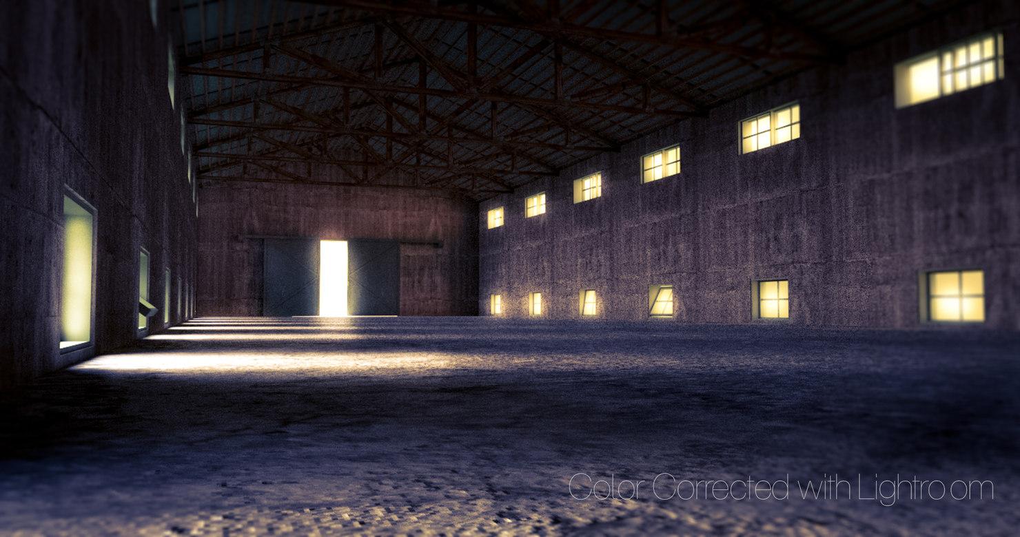 concrete warehouse wooden metal roof 3d model