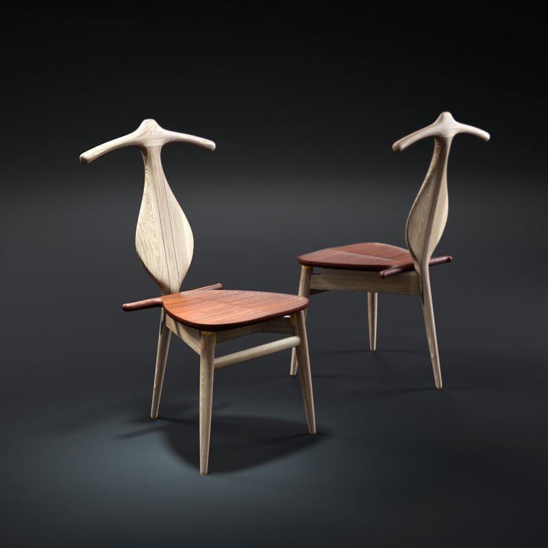 3d model hans-j-wegner-valet-chair