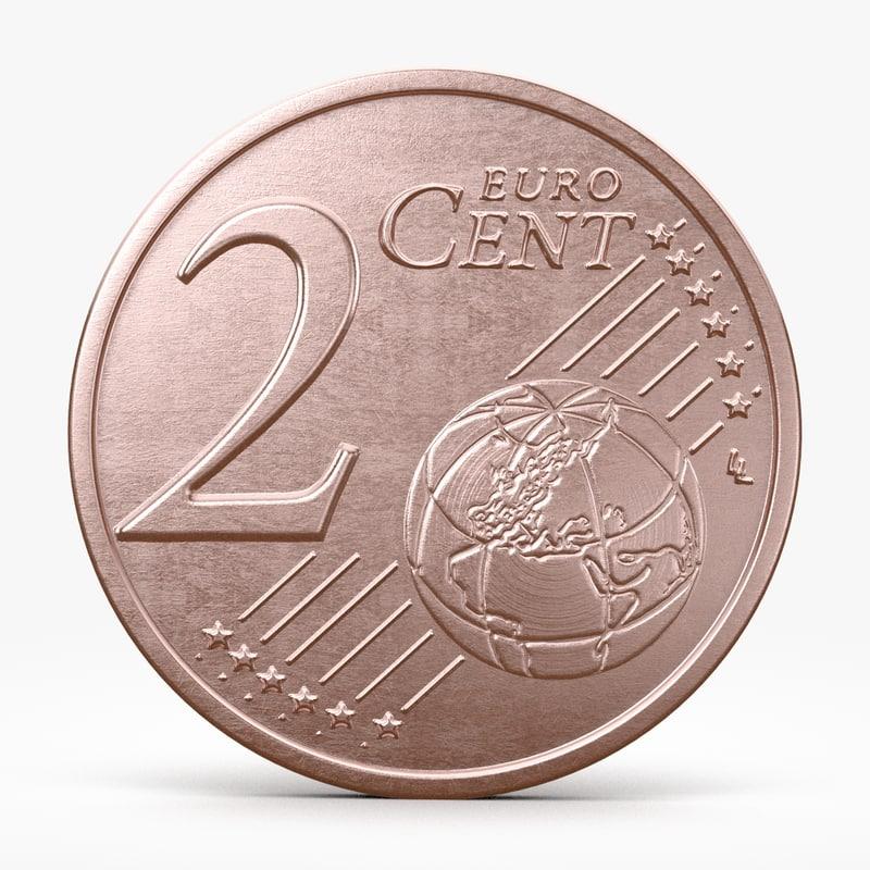 euro cent 3d obj