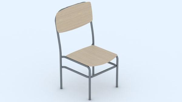 free wood chair 3d model