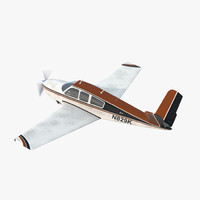 Civil Utility Aircraft Beechcraft Bonanza S35 V Tail Rigged 3 3D Model