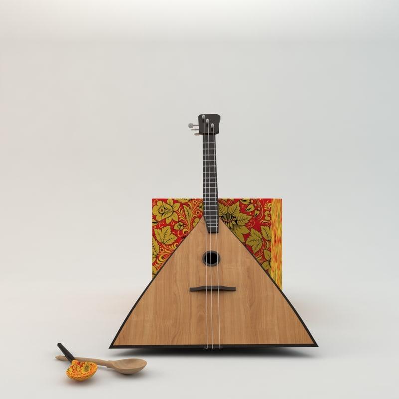 balalaika wooden spoons obj