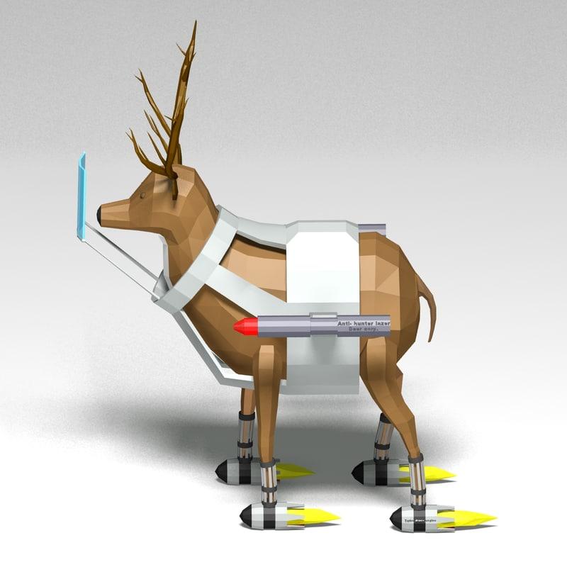 3d cartoon battle deer