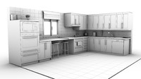 3d kitchen chairs microwave model