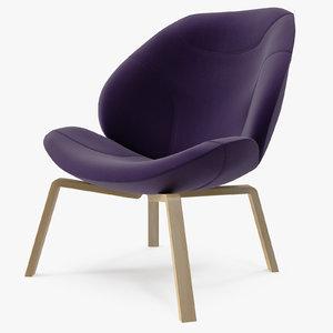 3d model softline eden chair purple