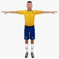 3d model brazil soccer player rigged