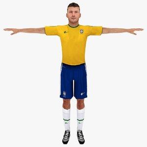 3d model brazil soccer player rigged