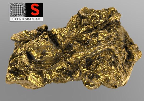 3d golden nugget 4k scan model