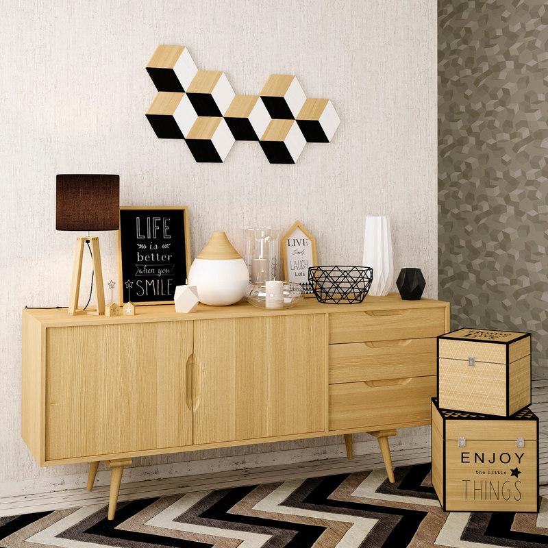 3d model of decoration set maisons du