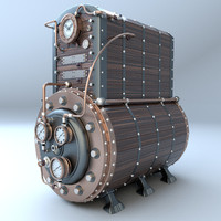3d steampunk boiler model