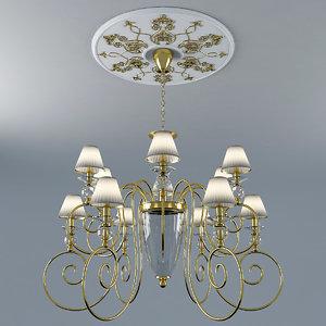 3d chandelier gold chrome model