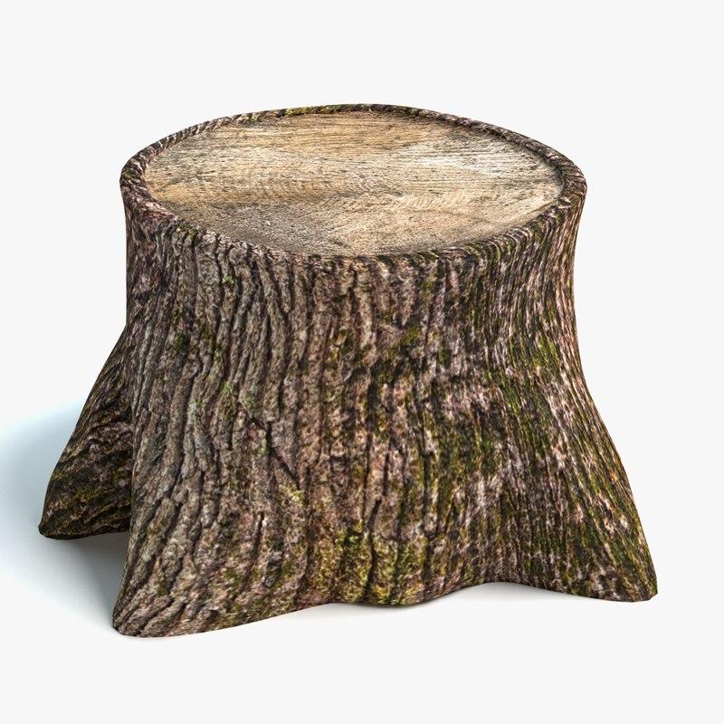 3d model old tree stump