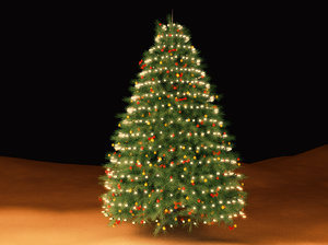 christmas tree ornaments lights 3d model