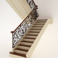 3d model classic stairs wrought iron