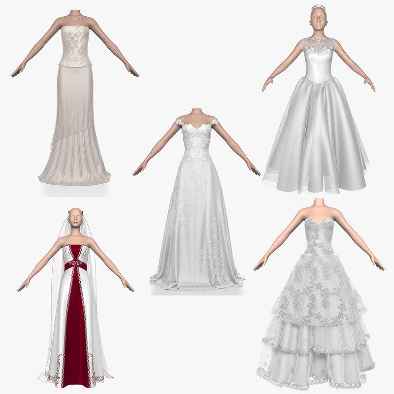 3d model wedding dress